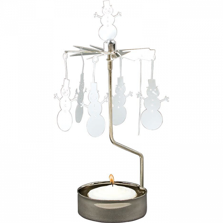Rotary candle holder creates a cozy atmosphere and perfect as an interior detail. Just light the candle and watch the little metal snowman figures rotate. Candle holder is silver-coloured and comes in a box. 1 tealight candle is included. Height approx.17cm.