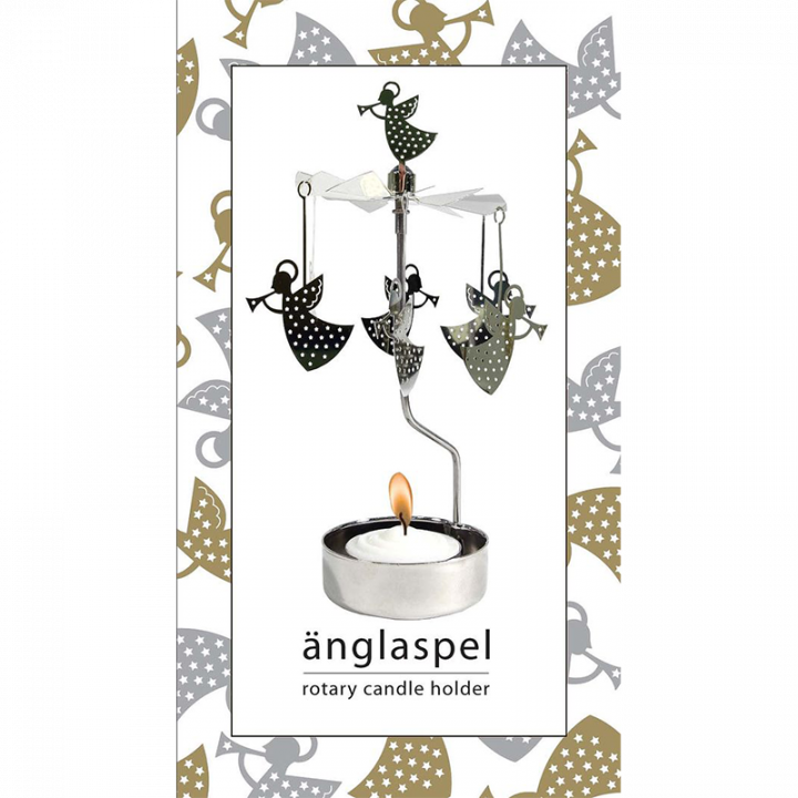 Rotary candle holder creates a cozy atmosphere and perfect as an interior detail. Just light the candle and watch the little metal angels figures rotate. Candle holder is silver-coloured and comes in a box. 1 tealight candle is included. Height approx.17cm.