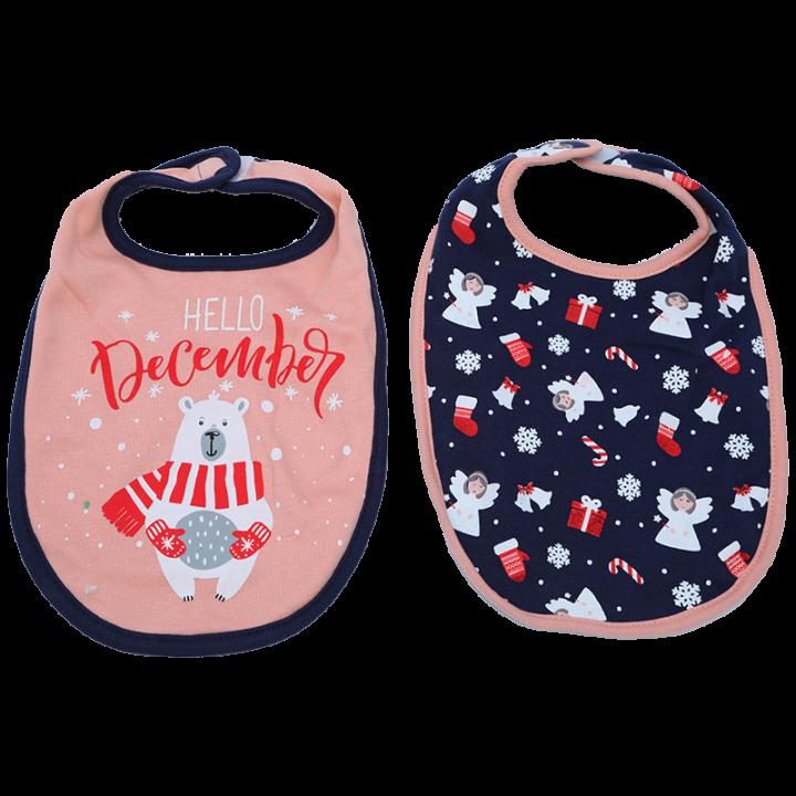 Pakkaukseen sisältyy kaksi suloista jouluaiheista ruokalappua. Kätevän tarranauhakiinnityksen ansiosta ruokalaput ovat näppärät pukea ja riisua. Jääkarhu ja enkelit.