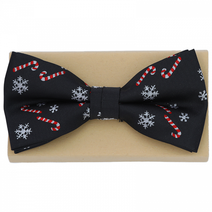 Black Christmas Bow Tie with Candy Cones.
