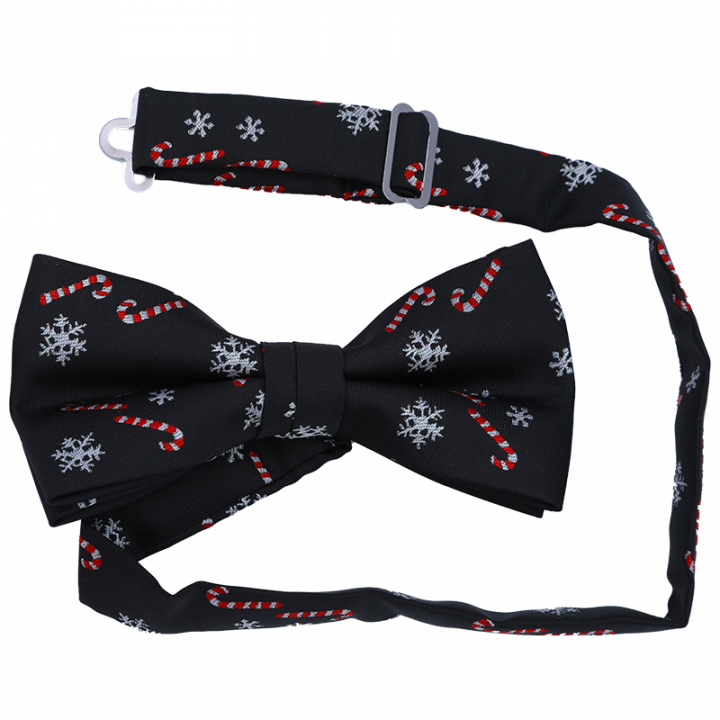 Black Christmas Bow Tie with Candy Cones