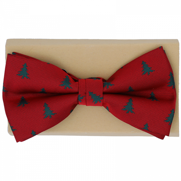 Red Christmas Bow Tie with green trees.