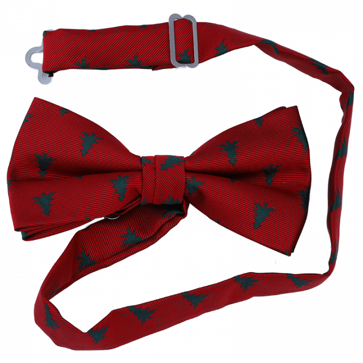 Red Christmas Bow Tie with green trees