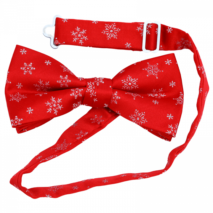 Red Christmas Bow Tie with White Snowflakes.