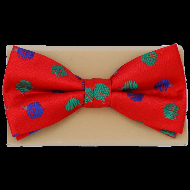 Punainen Joulurusetti, jossa vihreitä ja sinisiä kuusenpalloja