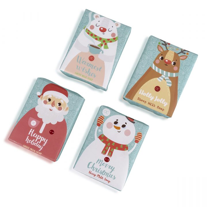 100g lampaanmaitosaippua, 4 mallia: Joulupukkia, Poro, Lumiukko, Jääkarhu, käsintehty, tuoksu: yrtti.