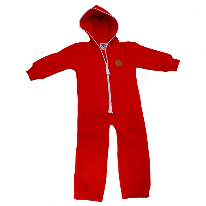 """High quality jumpsuit for babies and children. This cozy and versatile jumpsuit is made from cotton with soft inner lining. It has """"santa's little helper"""" print on the back, hood, pockets and front two way zipper closure. Color: red. Material: 80% cotton, 20% polyester."""