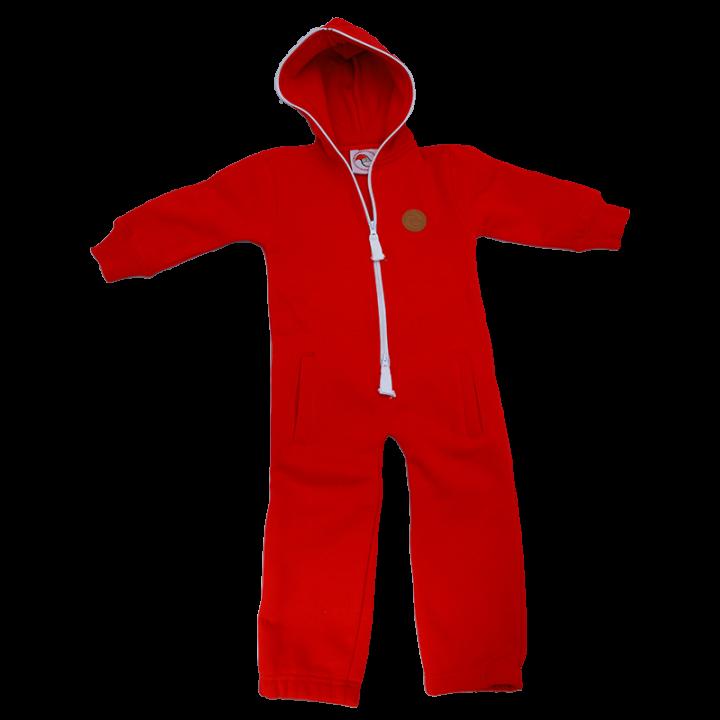 """Laadukas punainen jumpsuit lapsille ja nuorille. Tämä mukava ja käytännöllinen haalari on ihanan pehmeää collegea ja sen selässä on valkoisella teksti """"santa's little helper"""". Jumpsuitissa on kaksisuuntainen vetoketju, huppu ja taskut. Materiaali 80% puuvilla 20% polyesteri."""