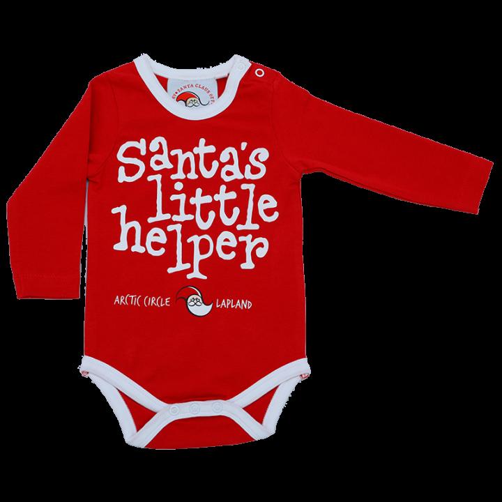"Cute longsleeve bodysuit for the smallest of Santa's little helpers. Bright red bodysuit with print ""santa's little helper"" on front. Material: 95%cotton, 5% elastane."