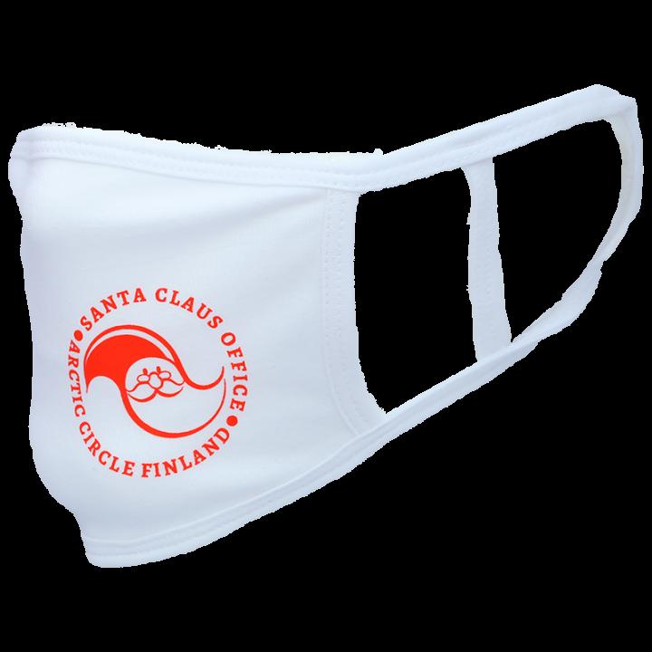 Kasvomaski Santa Claus Office logolla. Kasvomaski on konepestävä (60c) ja uudelleenkäytettävä. Maskissa on hyvä istuvuus ja yksi koko sopii lähes kaikille. Materiaali: 95 % puuvillaa, 5 % elastaania. Tämä tuote ei ole lääketieteelliseen käyttöön tarkoitettu hengityssuojain, henkilökohtainen suojavaruste tai lääketieteellinen väline. Väri valkoinen.