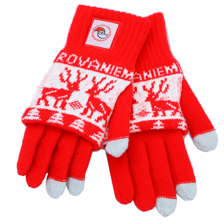 Keep your fingers warm with these soft red-and-white gloves with Santa Claus Office logo. Touch-screen-gloves. One size (adult).