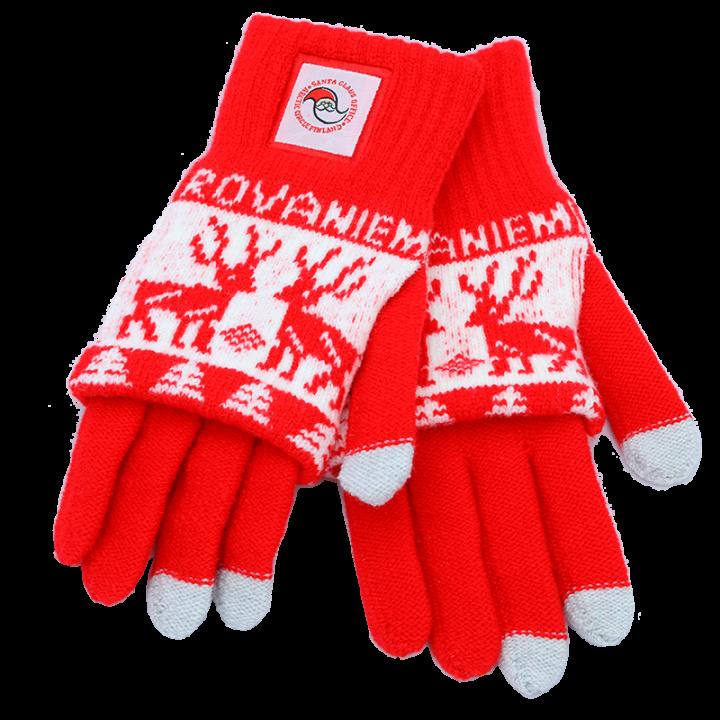 Ihanasti lämmittävät pehmeät sormikkaat. Punavalkoisissa sormikkaissa on kuviointia ja Santa Claus Office logo. Sormenpäissä kosketusnäyttöominaisuus. Materiaali on joustavaa, koko: one size (aikuisten koko).