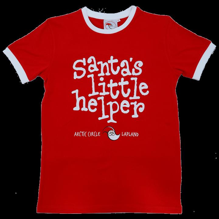 """Santa Claus Officen klassikko t-paita nyt saatavana kaikille Pukin pikku apureille! Punainen t-paita, jossa edessä painatus """"Santa's little helper"""". Materiaali 100% puuvilla."""