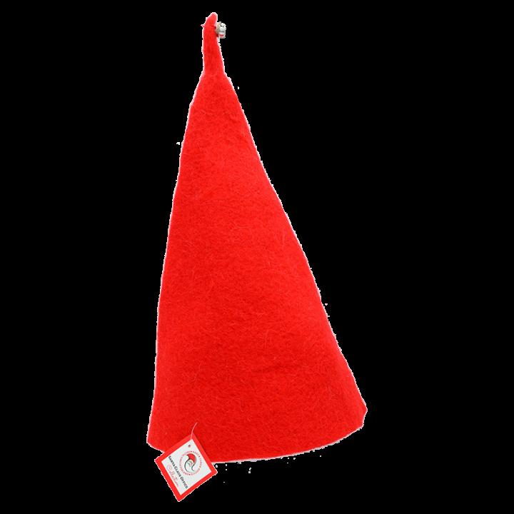 Tonttulakeistaan Joulupukin apulaiset tunnetaan! Huovasta valmistettu punainen tonttulakki, jonka korkeus on n.50cm. Tonttulakin kokoa voit säätää pienemmäksi kääntämällä alareunasta. Koko:one size.