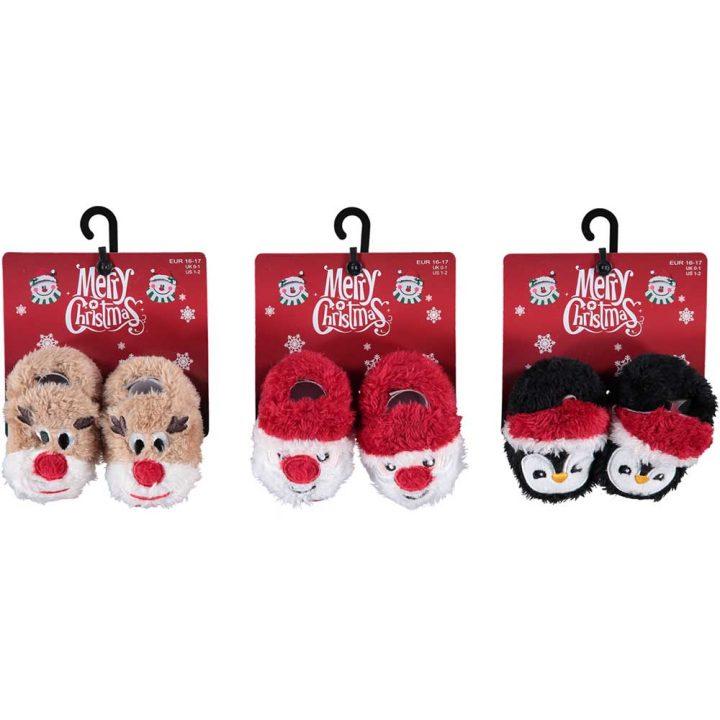 Vauvojen söpöt, pehmoiset joulutossut. Kaikki mallit: poro, Joulupukki, Pingviini.