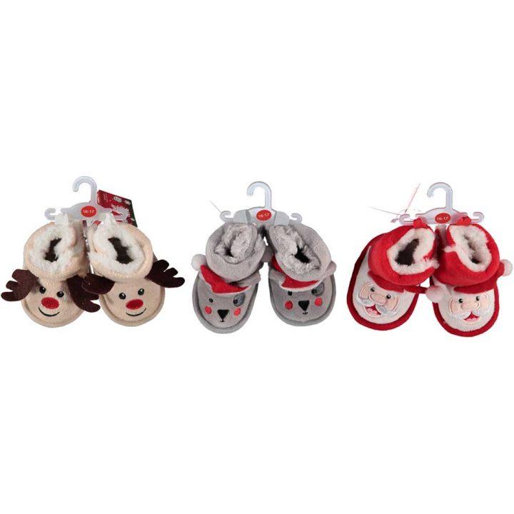 Cute christmas patterned baby booties. All models: reindeer, bear, Santa