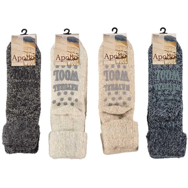 Warm and soft socks for men. These comfortable non-slip socks are available in four different colors and two sizes. Colors: Black, White, Beige, Blue