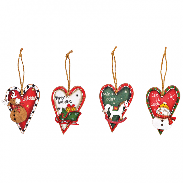 Tree Decoration, Wooden Heart Assortment.