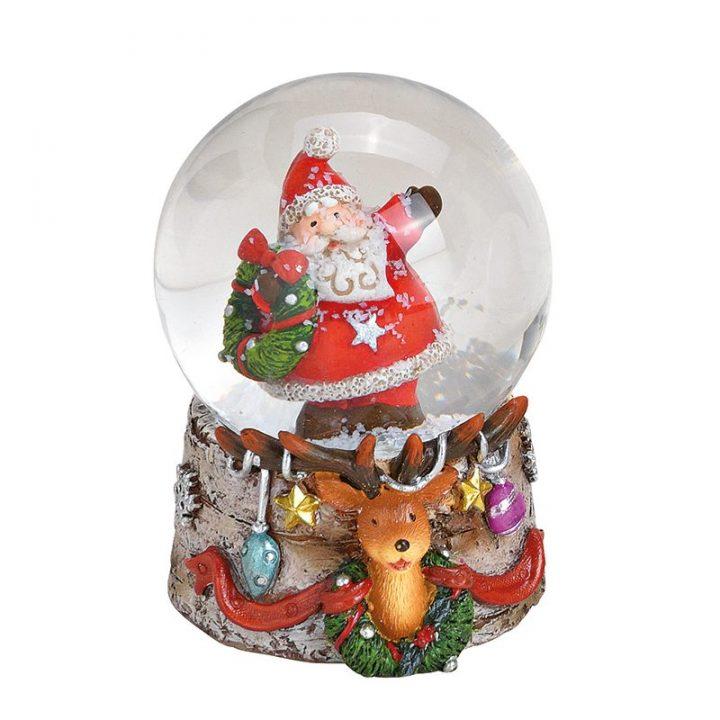 Santa And Reindeer Snowglobe.