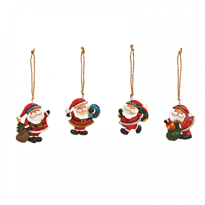 Tree Decoration, Ceramic Santa Assortment.
