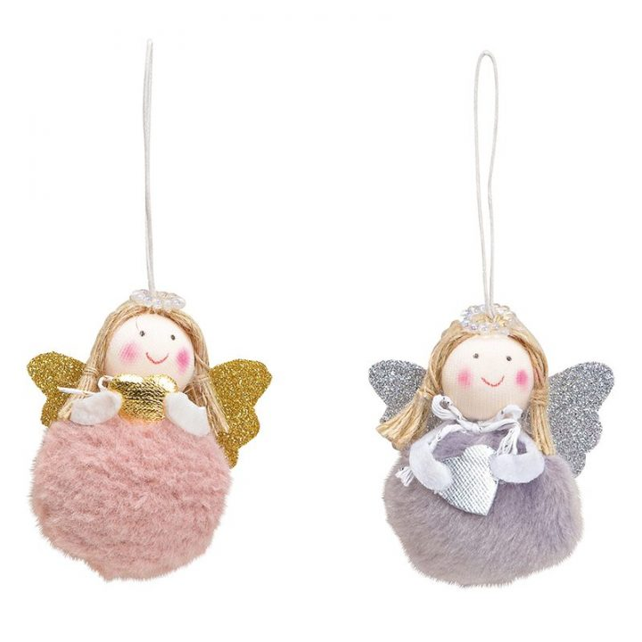 Tree Decoration, Round Angel with Glitter Wings.