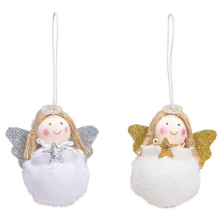 Tree Decoration, Round Angel with Glitter Wings2.