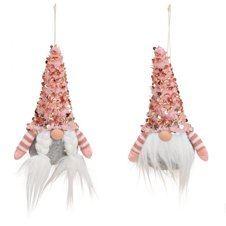 Tree Decoration, Elf with Glitter Hat, pink.