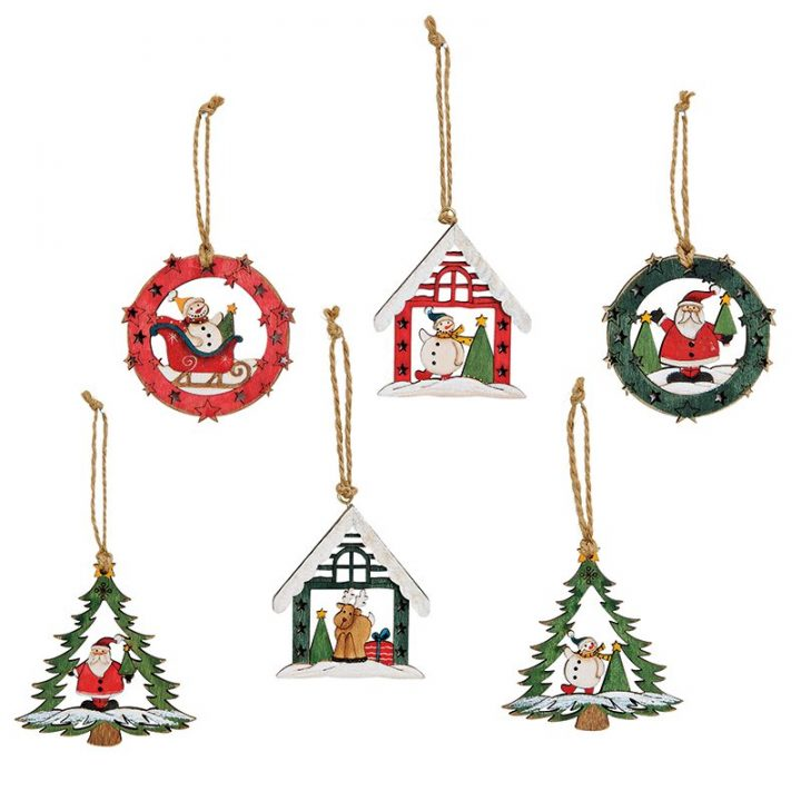 Tree Decoration, Wooden Assortment.