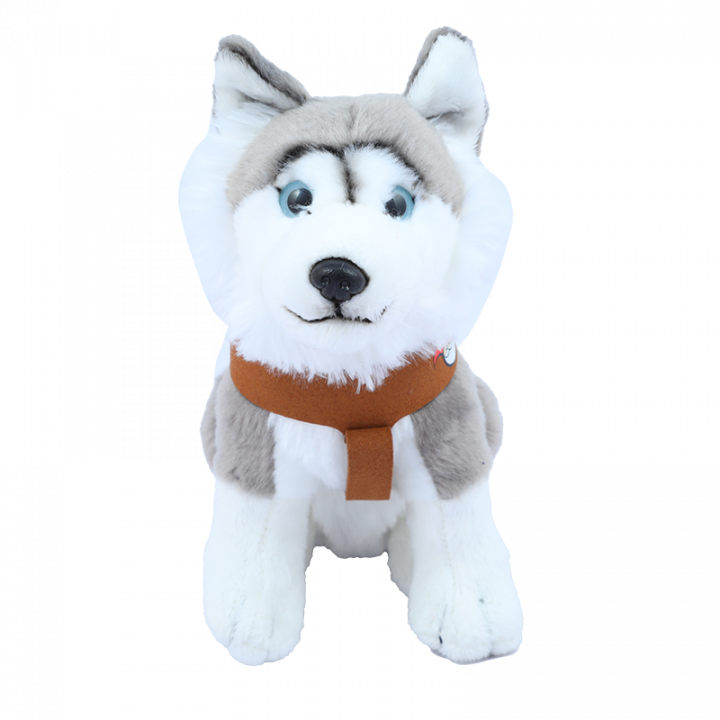 Sitting Husky Cuddly Toy, Grey.