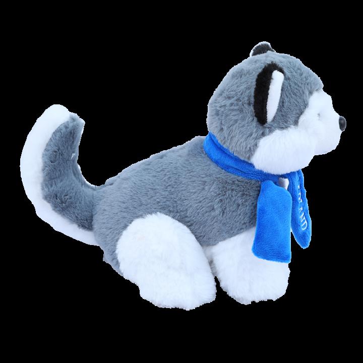 Sitting Husky Cuddly Toy with Scarf.