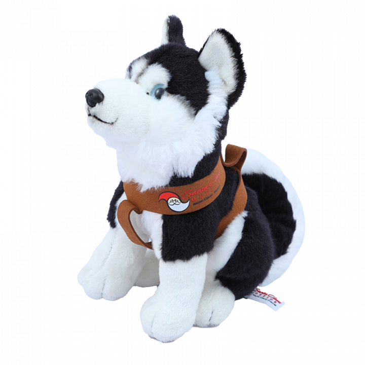 Sitting Husky Cuddly Toy, Black.
