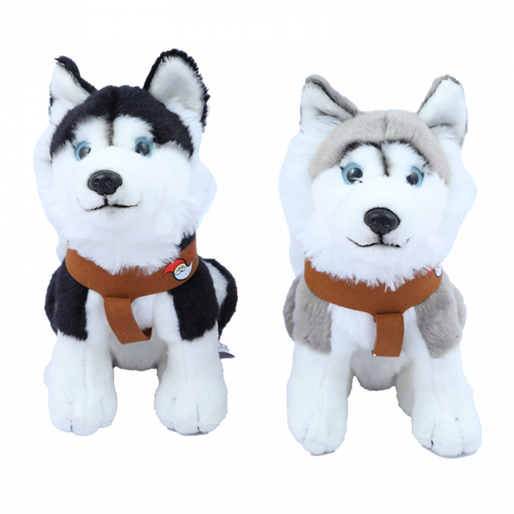 Sitting Husky Cuddly Toy, Black and Grey.