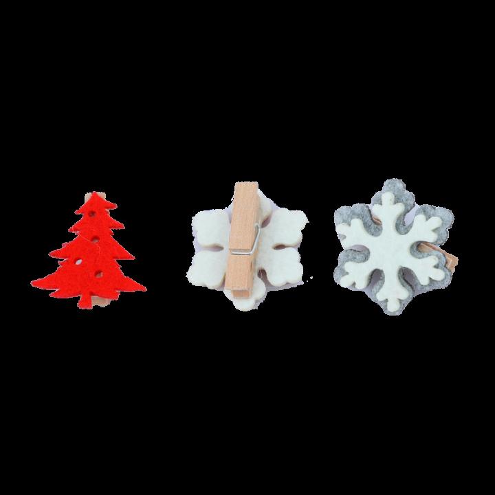 Clip Deco Snowflake and tree.
