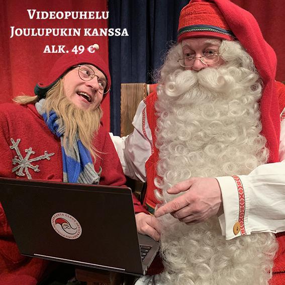 Videopuhelu Joulupukin kanssa.